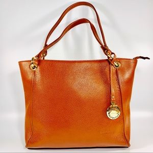 Leather Bay Brown Tote Gold Hardware Dual Handle
